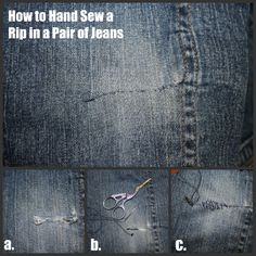 3 Ways to Mend Holes in Blue Jeans – The Happy Housewife™ :: Home Management Fix holes in jeans (I have a friend who just opens the inside leg seam to create a flat sewing surface, then re-sews it shut after the repair. 3 Ways to fix holes in blue jea Repair Jeans, Patching Jeans, How To Patch Jeans, Sewing Jeans, Denim Crafts, Jean Crafts, Learn To Sew, Needle And Thread, Sewing Hacks