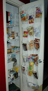 Small Pantry Organization: You could do this even cheaper by using Ziplock bags (not closed) and stapling them to the door. Great solution for a door that doesn't have space for something else.