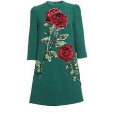 Dolce & Gabbana Double Crepe Sequin Rose Embroidered Shift ($6,495) ❤ liked on Polyvore featuring dresses, vestidos, embroidered shift dress, embroidery dress, rose sequin dress, green sequin dress and green dress