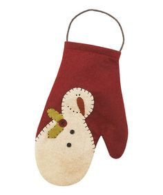 Take a look at this Red & Cream Frosty Mitten Ornament by Collins Christmas on #zulily today!