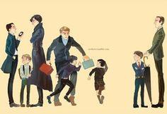 THIS IS TOO PERFECT: (Left to right) ~ Jim Moriarty ~ John's son ~ Sherlock Holmes ~ John Watson ~ Sherlock's son ~ Jim's son ~ Mycroft's son ~ Mycroft Holmes