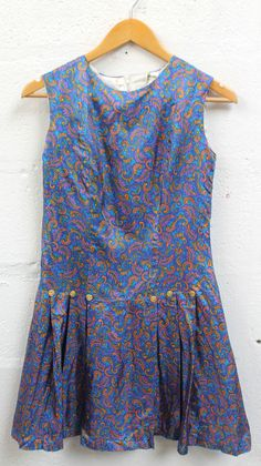 Vintage 1960s 60s MINI DRESS Blue Yellow Paisley Satin Size 6-8 uk Mod Paris