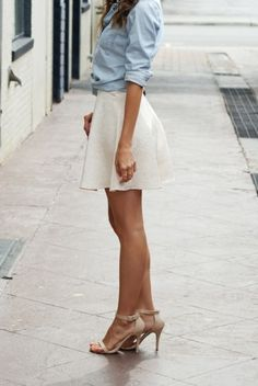 chambray shirt | white skirt combo