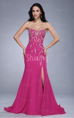 Fuchsien Meerjungfrau-Stil Bodenlanges Herzförmiger Ausschnitt Kleid