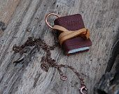 Book Necklace: Large, Brown, Tied, Personalized, Custom. via etsy