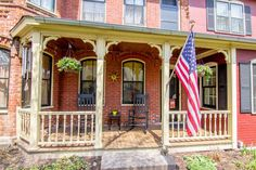 Picturesque red brick front porch. Just perfect!
