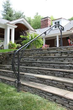 railing by Maynard Studios Exterior Handrail, Outdoor Stair Railing, Metal Handrails, Wrought Iron Stair Railing, Iron Staircase, Iron Railings, Hand Railing, Staircases, Front Porch Steps
