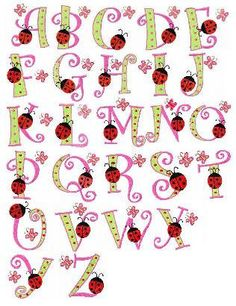 26 ladybug butterfly letters font machine embroidery by FunStitch = cute, but 3 inch letter size...