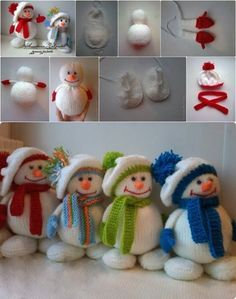 How to DIY Knitted Winter Hat Snowman Tutorial