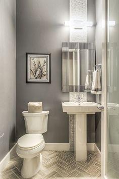 Modern Powder Room With Glacier Bay   Gpf High Efficiency Elongated Toilet  C B Gray Bathroomssmall