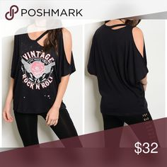 AVAILABLE Black Distressed Vintage Rock Tee! Cut out collar distressed graphic tee! Tops