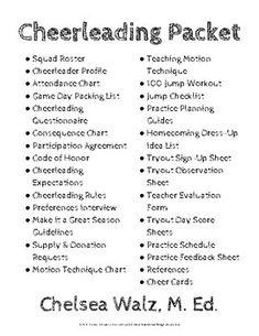Cheerleading participation agreement cheerleading ideas cheerleading information packet and cheer cards maxwellsz