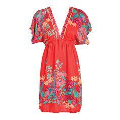 Tropical-Print Kimono Dress ($20) ❤ liked on Polyvore