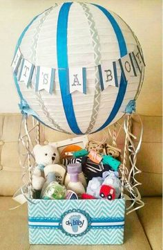 Hot air balloon baby shower gift basket