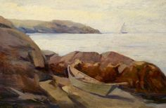 """""""Schooner off Manana,"""" Eric Hudson, oil on canvas, 12 x 18"""", private collection."""