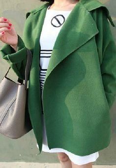 European Style Pure Color Elegant Lapel Slim Trench Coat