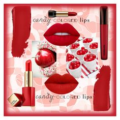 """""""Candy lips - reds"""" by willy3384 on Polyvore featuring beauty, Lime Crime, Estée Lauder, Lancôme, Chanel, red, candylips and candyred"""