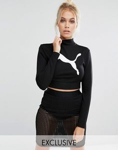 Puma | Puma Exclusive to ASOS Long Sleeve Crop Top Co Ord Stretch jersey High neckline Logo front  Cropped cut Close-cut body-conscious fit Machine wash 70% Viscose, 27% Polyester, 3% Elastane