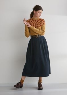 Ikat skirts, workwear skirts, linen wrap front skirts, mid length skirts and cotton skirts. Modest Clothing, Modest Outfits, Skirt Outfits, Classy Outfits, Beautiful Outfits, Fall Outfits, Fashion Outfits, Full Skirt Outfit, Winter Skirt Outfit