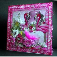 Pink Flamingo Bouquet 8x8 Kit on Craftsuprint designed by Maria Christina Vieira  - made by Sandra Griggs - I printed sheets onto glossy photo paper and matt main topper onto a white square card blank. I added pink fringing to the card edges. I made up the decoupage with 3D glue gel. I finished with glitter, gems and a feather. I printed the insert onto matt paper.This is a beautiful, colourful, vibrant kit that makes a card that is sure to please the recipient. Many thanks to the Designer…