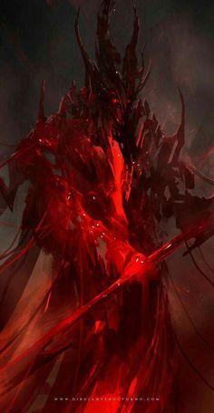 SF, fantasy, post-apocalypse, and other genre visual arts. Fantasy Demon, Fantasy Warrior, Dark Fantasy Art, Fantasy Artwork, Dark Art, Demon Artwork, Monster Art, Fantasy Monster, Monster Design