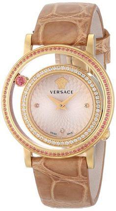 #Versace Women's VDA060014 Venus DIAMOND Gold Dial Beige Alligator Leather #Watch