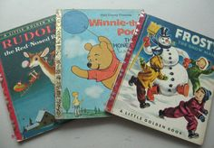 3 Little Golden Books Winnie the Pooh Frosty and Rudolph. by ClosetFull