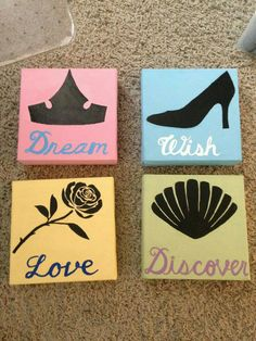 25 00 on Etsy- Disney Princess painted canvas set www etsy 25 00 on Etsy- Disney Princess painted canvas set www etsy 25 00 on Etsy- Disney Princess painted canvas set www etsy Disney Diy, Deco Disney, Art Disney, Disney Kunst, Disney Crafts, Disney Ideas, Disney Princess Crafts, Disney Princess Nursery, Punk Disney
