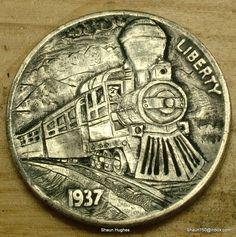 Hobo Nickel Steamtrain Hand Carved Coin by Shaun Hughes Ohns RM1261 Shaun H | eBay