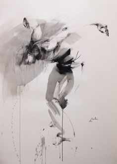danseur - Peinture, 109x150 cm ©2016 par Ewa Hauton (ewah) - Peinture contemporaine, Hommes, ewa hauton, dancer, dance in painting, ink painting, drawing, painting on paper, black&white