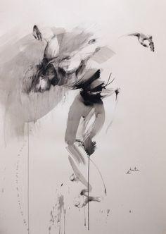 danseur - Peinture,  109x150 cm ©2016 par Ewa Hauton (ewah) -                                            Peinture contemporaine, Hommes, ewa hauton, dancer, dance in painting, ink painting, drawing, painting on paper, black&white