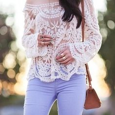 lace, periwinkle pants, classic, cute