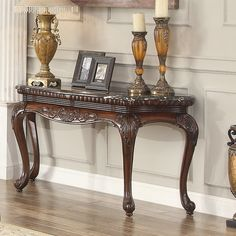 Homelegance Mariacarla Dark Cherry Sofa Coffee Table with Marble Top Decor, Furniture, Marble Console Table, Marble Top Coffee Table, Table, Tuscan Decorating, Marble Top Console Table, Traditional Console Tables, Entry Furniture