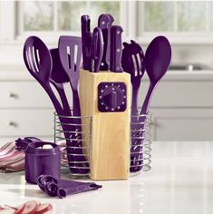 All kitchen gadgets in one easy holder, with a timer #organize #kitchen