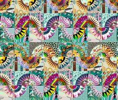 Waves - New_York_Beauty. fabric by art_on_fabric on Spoonflower - custom fabric