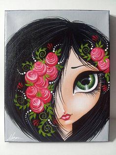 Black hair big eye girl Original Canvas Painting by Megan - Art Pottery Painting, Fabric Painting, Eyes Artwork, Eye Art, Whimsical Art, Art Plastique, Big Eyes, Rock Art, Art Pictures