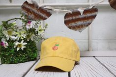 Vintage PEACH Baseball Cap Low Profile Dad Hats Baseball Hat Embroidery Burnt Yellow by TheHatConnection on Etsy https://www.etsy.com/listing/280731686/vintage-peach-baseball-cap-low-profile