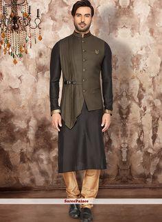 Black Silk Readymade Kurta Pajama With Jacket 174926 Indian Men Fashion, Mens Fashion Suits, Grey Fashion, Mens Suits, Men's Fashion, Gents Kurta Design, Boys Kurta Design, Nehru Jacket For Men, Nehru Jackets