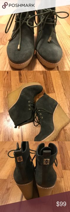Tory Burch desert boots Tory Burch olive green wedge platform desert boots.  Like new Tory Burch Shoes Ankle Boots & Booties