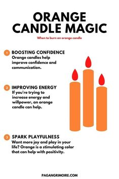 In candle magic, the orange candle's meanings are best for spells associated with joy, communication, confidence, playfulness, and more. #candles #candlemagic #magic #magick #sun #sacralchakra #orangecandles #witchcraft #paganism #pagangrimoire Witch Spell Book, Witchcraft Spell Books, Wiccan Spells, Candle Magic, Candle Spells, Altar, Candle Meaning, Spiritual Candles, Easy Love Spells