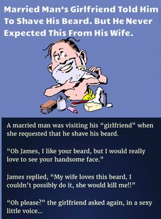 Married Man's Girlfriend Told Him to shave His Beard. But He Never Expected this from his wife - Damn Funny