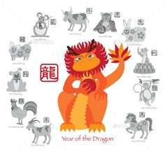 Chinese New Year Dragon Color with Twelve Zodiacs Illustration by jpldesigns. Chinese New Year of the Dragon Color with Twelve Zodiacs with Chinese Text Seal in Circle Grayscale Illustration