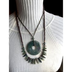 Zen moss agate pendant necklace. Huge, statement size. Natural boho... ($30) ❤ liked on Polyvore featuring jewelry, necklaces, gemstone pendants, antique pendant necklace, bohemian necklaces, green necklaces and gem necklace