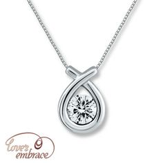 Love S Embrace Necklace 1 5 Ct Tw Diamonds 10k White Gold