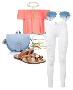 """""""Untitled #156"""" by maggiejanexo on Polyvore featuring Frame Denim, Topshop, Ted Baker, Steve Madden, Ray-Ban, Kendra Scott and Gorjana"""