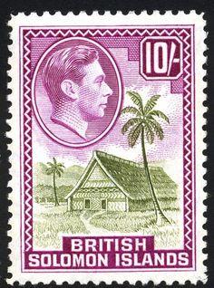 Stamp: Meeting House (Solomon Islands) (King George VI Issues (1939-51)) Mi:SB 71,Sn:SB 79