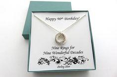 90th Birthday Gift Sterling Silver Necklace 90th Birthday