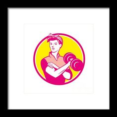 Vintage Woman Lifting Dumbbell Circle Retro Framed Print By Aloysius Patrimonio Illustration of a vintage female wearing polka dot headband workout lifting dumbbell facing front set inside circle done in retro style. #illustration #VintageWomanLifting