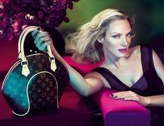 Uma Thurman by Mert & Marcus for Louis Vuitton F/W 2005 Vintage Purses, Vintage Handbags, Tambour, Louis Vuitton Handbags, Louis Vuitton Monogram, Vuitton Bag, Fashion Bags, High Fashion, Uma Thurman