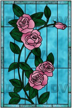 VIT111 - Pink roses stained glass effect sticker - DECO-